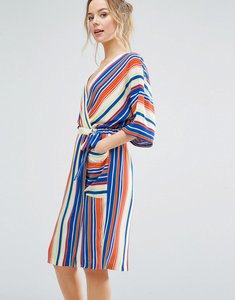 Read more about Closet london kimono sleeve striped wrap dress - multi