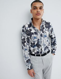 Read more about Selected homme slim fit shirt with all over print - white