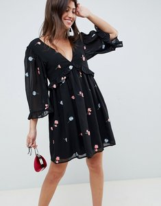 Read more about Asos design embroidered smock mini dress - black