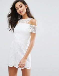 Read more about Miss selfridge lace cold shoulder playsuit - white