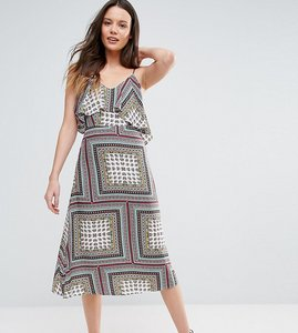 Read more about Glamorous tall cold shoulder midi swing dress - multi