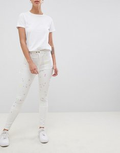 Read more about Asos design ridley high waist skinny jeans with painter styling in pax painted wash - multi