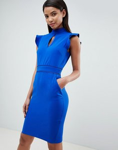 Read more about Paper dolls cap sleeve keyhole dress - cobalt