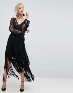 Read more about Asos lace deep plunge fringe wrap midi dress - black