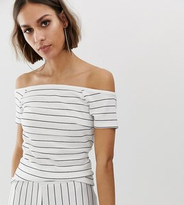 Read more about Na-kd off shoulder stripe top black and white