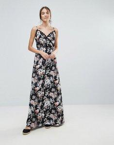 Read more about Uttam boutique floral print maxi dress with lace trim - black