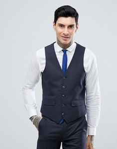 Read more about Harry brown charcoal mini check slim fit suit waistcoat - charcoal