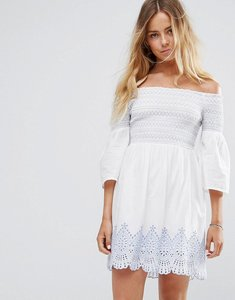 Read more about Miss selfridge bardot embroidered dress - ivory