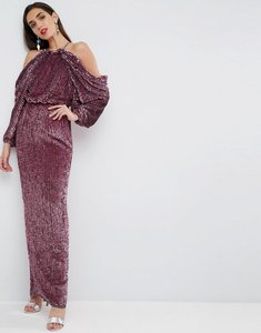 Read more about Asos red carpet embellished drape front kimono maxi dress - rose gold