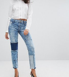 Read more about Urban bliss straight leg jean with shadow patching and raw hem - acid wash