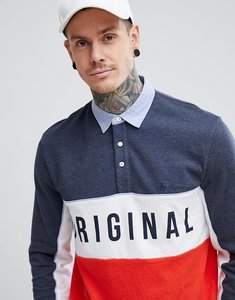 Read more about Original penguin logo chest panelled rugby shirt slim fit in navy white red - dark sapphire