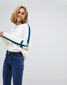 Read more about Vero moda knitted jumper with colour blocked sleeve - pristine