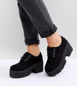 Read more about Asos mega wide fit chunky lace up heels - black