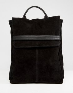 Read more about Asos design suede belted flap backpack - black