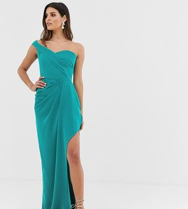 Read more about Yaura bardot maxi dress with thigh split in turquoise
