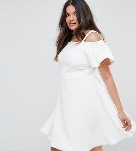 Read more about Closet london plus cold shoulder skater dress - white