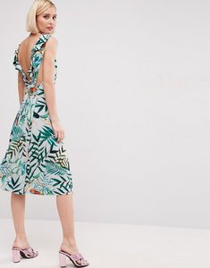 Read more about Asos parrot tropical ruffle back midi dress - multi