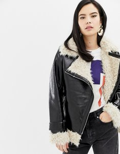 Read more about Asos cracked vinyl biker jacket with curly borg liner - black
