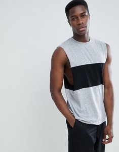 Read more about Asos design vest with dropped armhole and contrast panel in grey - gmarl blk