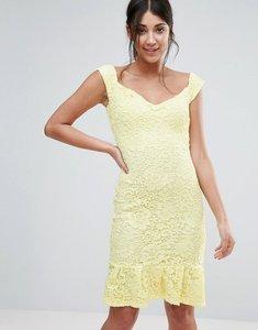 Read more about Paper dolls peplum hem bardot dress - lemon