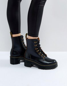 Read more about Dr martens leona hiker chunky lace up ankle boots - black vintage smooth