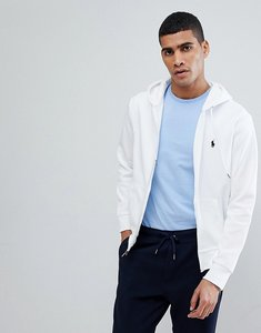Read more about Polo ralph lauren zip through hoodie with polo player logo in white - white