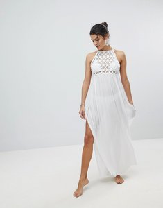 Read more about Asos premium crochet panel maxi beach dress - white