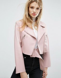 Read more about Outstanding ordinary faux leather jacket with belt detail - pink