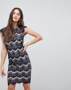 Read more about Ax paris lace contrast midi dress - navy