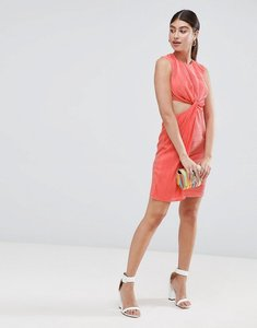 Read more about Asos design plisse twist front mini dress - coral pink