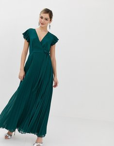 Read more about Asos design pleated maxi dress with flutter sleeve