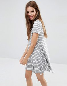 Read more about Asos short sleeve swing dress in stripe print with button through - multi