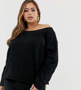 e71f323d33f Read more about Asos design curve off shoulder sweatshirt with raw edges in  black