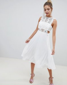 Read more about Asos design pinafore midi dress - ivory