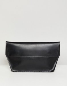 Read more about Asos design structured leather foldover clutch bag - black