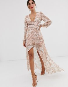 Read more about Asos design midi dress with lace trims in soft animal print
