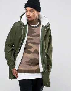 Read more about Asos parka jacket with removable borg lining in khaki - khaki
