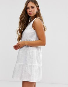 Read more about Asos design sleeveless tiered mini smock dress in broderie