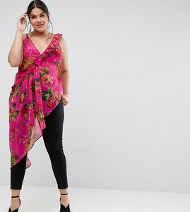 Read more about Asos curve asymmetric cami with ruffle bright pink floral - multi