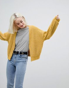 Read more about Asos design chunky cardigan with balloon sleeve - mustard