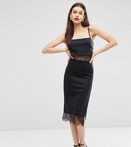 Read more about Asos tall lace panel cami lingerie scuba dress - black