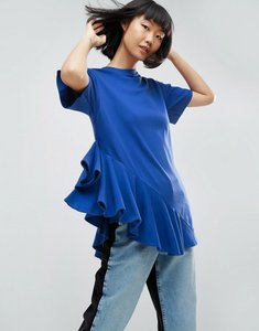 Read more about Asos white asymmetric frill top - blue