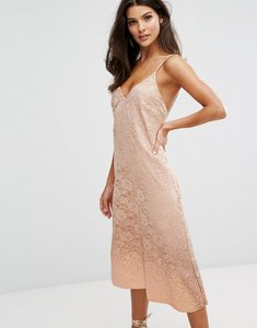Read more about Warehouse foil dip lace slip dress - nude
