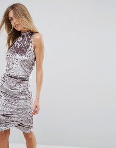 Read more about Ax paris ruched crushed velvet midi dress - silver crush