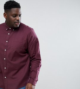 Read more about Asos design plus stretch regular fit oxford shirt in burgundy - burgundy