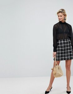 Read more about Warehouse tweed check a-line mini skirt - black and white