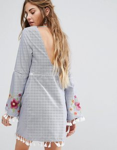 Read more about Glamorous open back smock dress with delicate embroidery - blue thin stripe