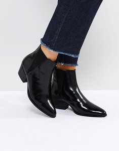 Read more about Asos rhiannon leather western ankle boots - black