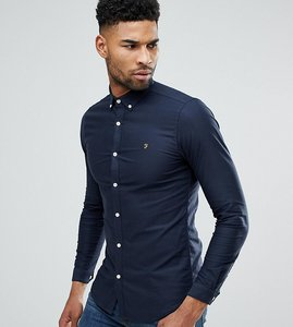 Read more about Farah tall skinny fit button down oxford shirt in navy - navy 454