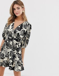 Read more about Asos design wrap mini dress in mono tropical print